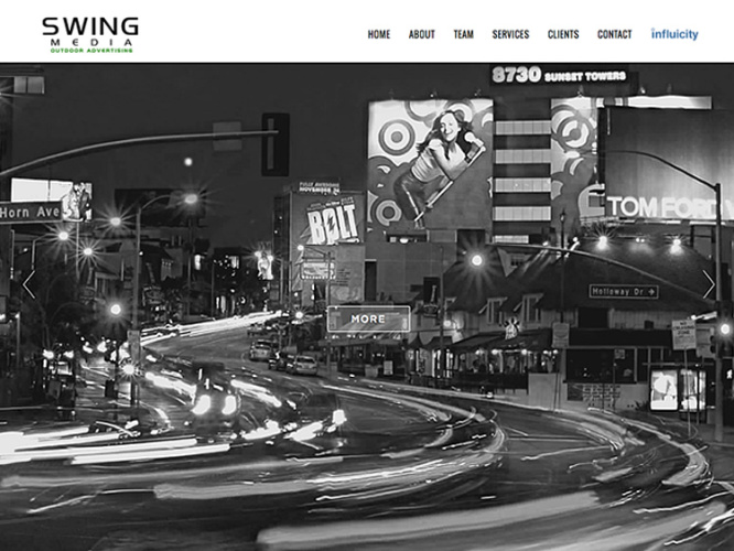 SWING OUTDOOR MEDIA<br>Website Design | West Hollywood, CA
